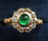 Superb victorian 18ct 18k gold 0.75ct emerald and diamond vintage antique cluster ring